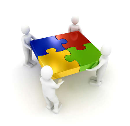 group cooperation: Puzzle over white background. 3d rendered image
