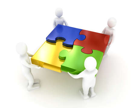 organization design: Puzzle over white background. 3d rendered image