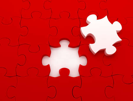 Puzzle over white background. 3d rendered image Stock Photo - 6892808