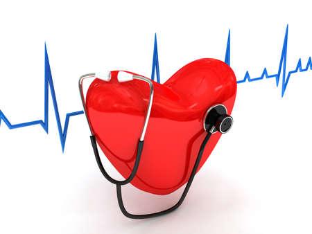 coeur sant�: st�thoscope sur blanc. image de synth�se 3D