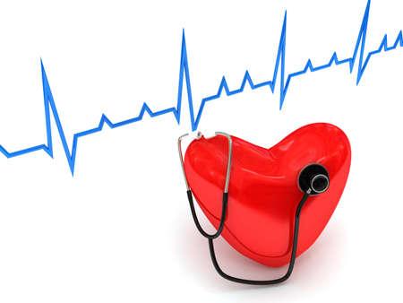 estetoscopio corazon: estetoscopio sobre blanco. imagen 3D