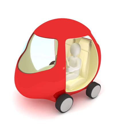 Red car over white. 3d render Stock Photo - 7045618