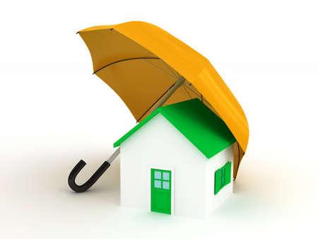 Home under umbrella . 3d render photo