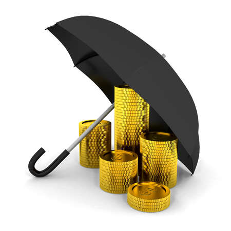 Pile of coins under a umbrella. 3d render Stock Photo