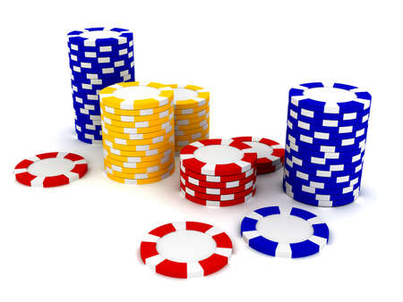 Casino Roulettes chips. 3d rendered image photo