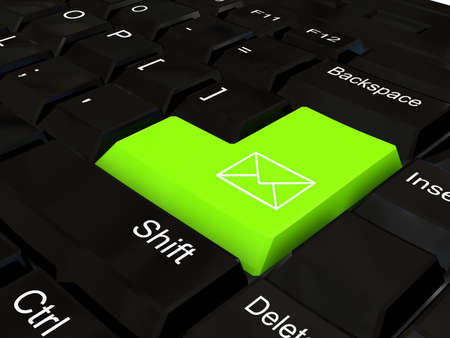 Keyboard - green key. 3d rendered image Stock Photo