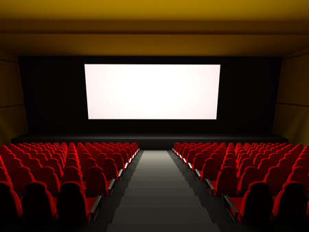theater: Film theater zitplaatsen. 3D beeld  Stockfoto