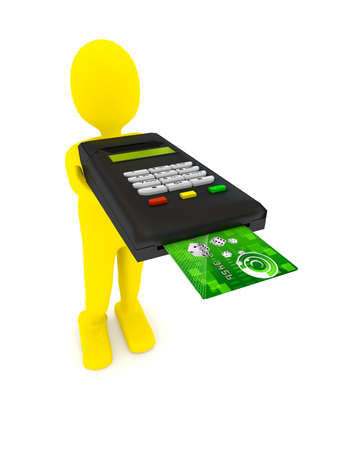 Credit card terminal over white. 3d rendered image photo