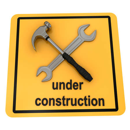 computer repairing: Under construction sign over white. 3d rendered image