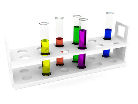 Test tubes any color over white. 3d rendered image photo