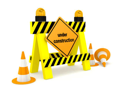 Under construction sign over white. 3d rendered image