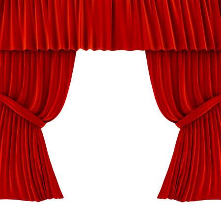 cortinas rojas: Cortinas rojas sobre blanco. imagen 3D  Foto de archivo