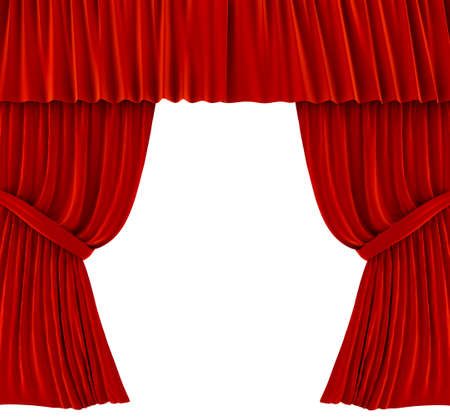 Red curtains over white. 3d rendered image photo