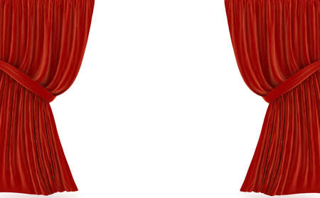 famous industries: Red curtains over white. 3d rendered image