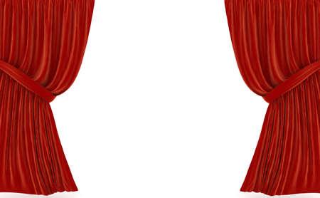 rideaux rouge: Red rideaux sur blanc. image de synth�se 3D