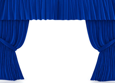 Red curtains over white. 3d rendered image