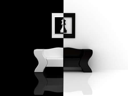 blackwhite: Black-white sofa. 3d rendered image