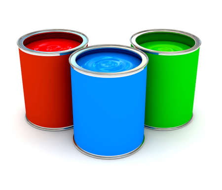 RGB color paint can over white. 3d rendered image photo