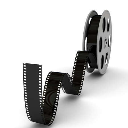 film reel: Film Slate with Movie Film Reel. 3d rendered image Stock Photo