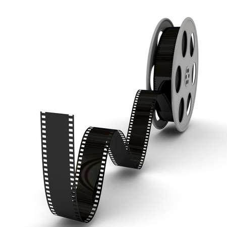 movie film reel: Pizarra de pel�cula con bobina de pel�cula. imagen 3D