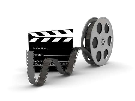 Film Slate with Movie Film Reel. 3d rendered image Stock Photo