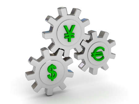 Gears with dollar yen and euro signs. 3d render Stock Photo - 7349718