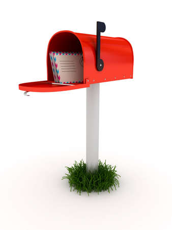 Mailbox over white background. 3d rendered image Stock Photo - 7349739