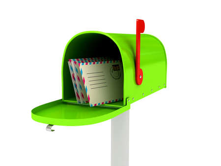 Mailbox over white background. 3d rendered image photo