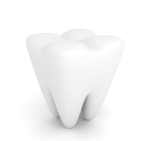 Tooth over white background. 3d render photo