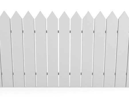 White fence over background. 3d rendered image photo