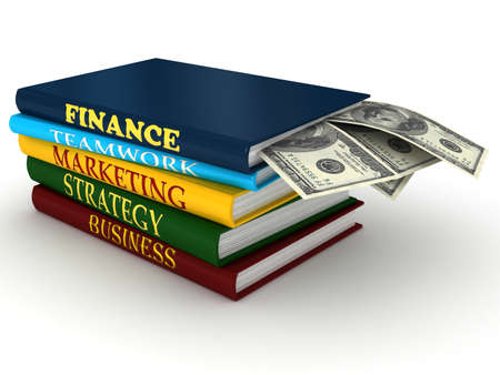 guidebook: Business books with money. 3d rendered image Stock Photo