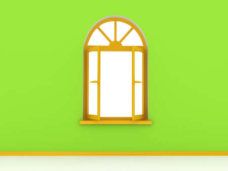 looking through an object: Open window. 3d rendered image Stock Photo