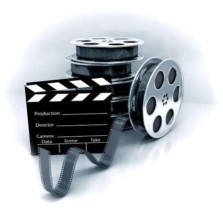 Film Slate with Movie Film Reel. 3d rendered image photo