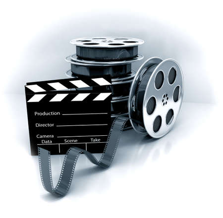 reel: Film Slate with Movie Film Reel. 3d rendered image Stock Photo