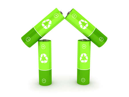 Green battery over white background. 3d rendered image photo