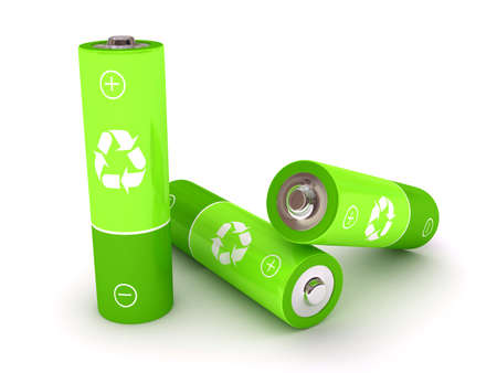 energy supply: Green battery over white background. 3d rendered image