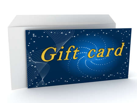 Gift card over white background. 3d rendered image photo