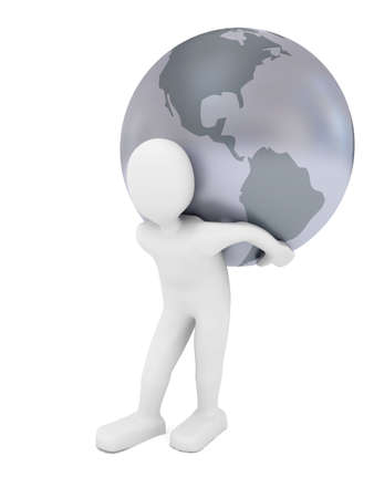 Globe over white background. 3d rendered image Stock Photo - 7623395