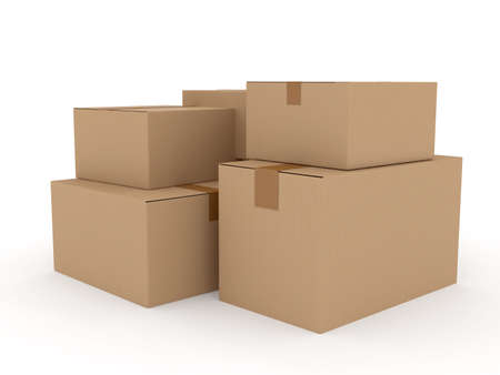 shipping supplies: Cardboard package over white. 3d rendered image Stock Photo