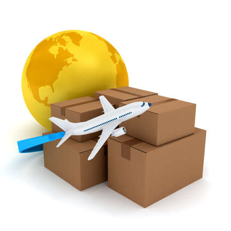 3d mode: Cardboard packages with airplane over white. 3d rendered image