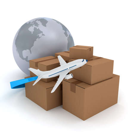 Cardboard packages with airplane over white. 3d rendered image