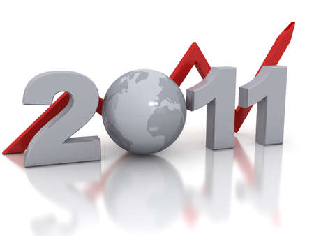 New Year 2011 concept. 3d rendered image photo