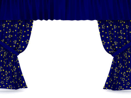 famous industries: curtains over white. 3d rendered image