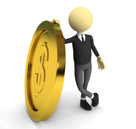 3d person with gold coin. 3d rendered image Stock Photo - 7661478
