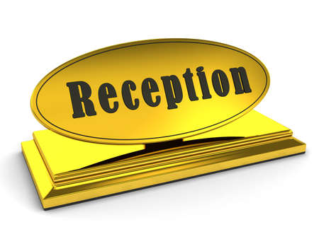 Gold reception sign over white. 3d rendered image photo