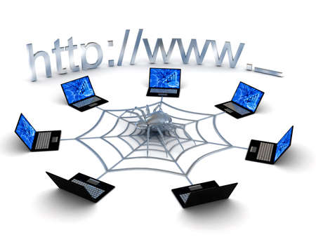 Web concept over white background. 3d rendered image photo