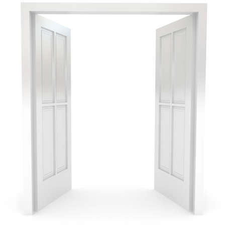 doors open: Open door over white. 3d rendered image Stock Photo