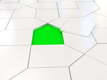 addition symbol: White house puzzle over green. 3d rendered image