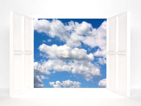 Open doors and sky. 3d rendered image Stock Photo - 7774892