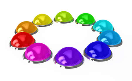 Color buttons over white background. 3d rendered image photo